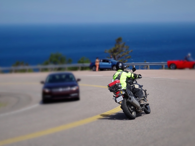 VStrom, riding on Cabot Trail