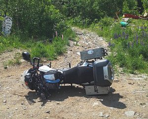 Mike's bike, Harley, napping at Meat Cove on the northern tip of Cape Breton Island