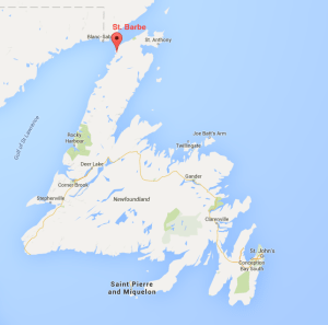St. Barbe Newfoundland Map
