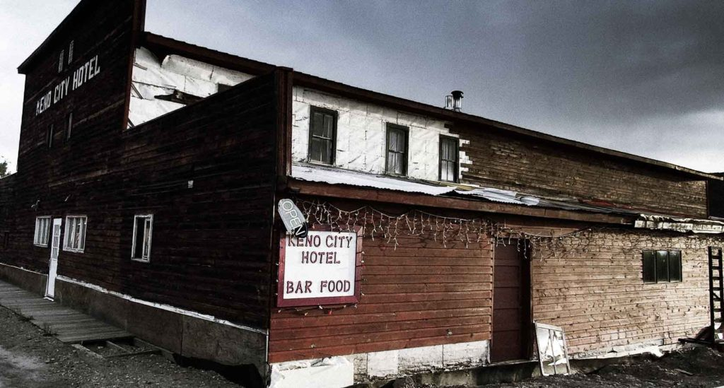 The old haunted Keno City Hotel in the Yukon near the silver mines and signpost hill