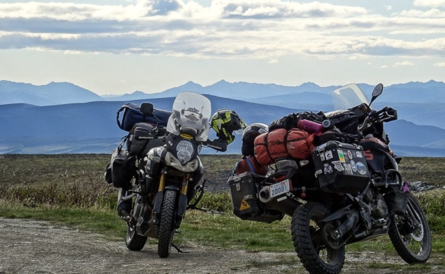 A Suzuki VStrom & a BMW At The Top of Keno Hill in the Yukon Territories