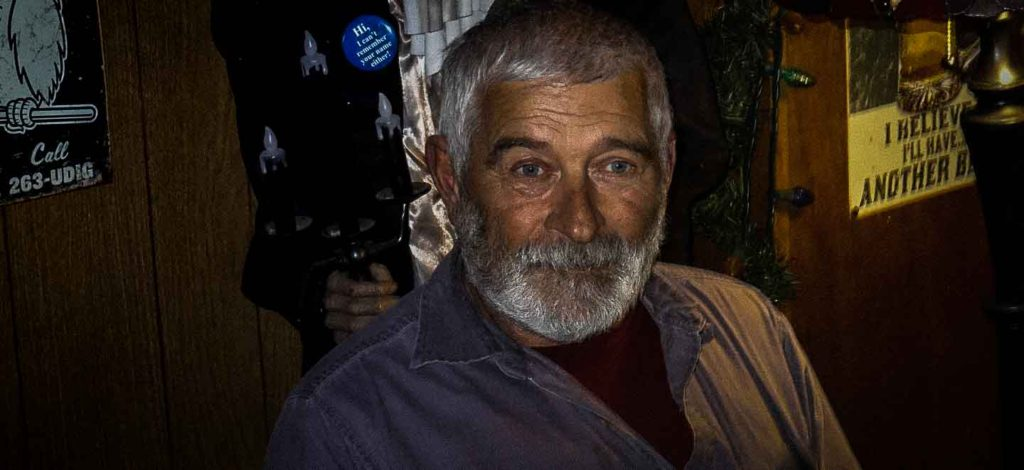 Leo, proprietor of the Keno City Hotel, Yukon. The hotel is haunted.