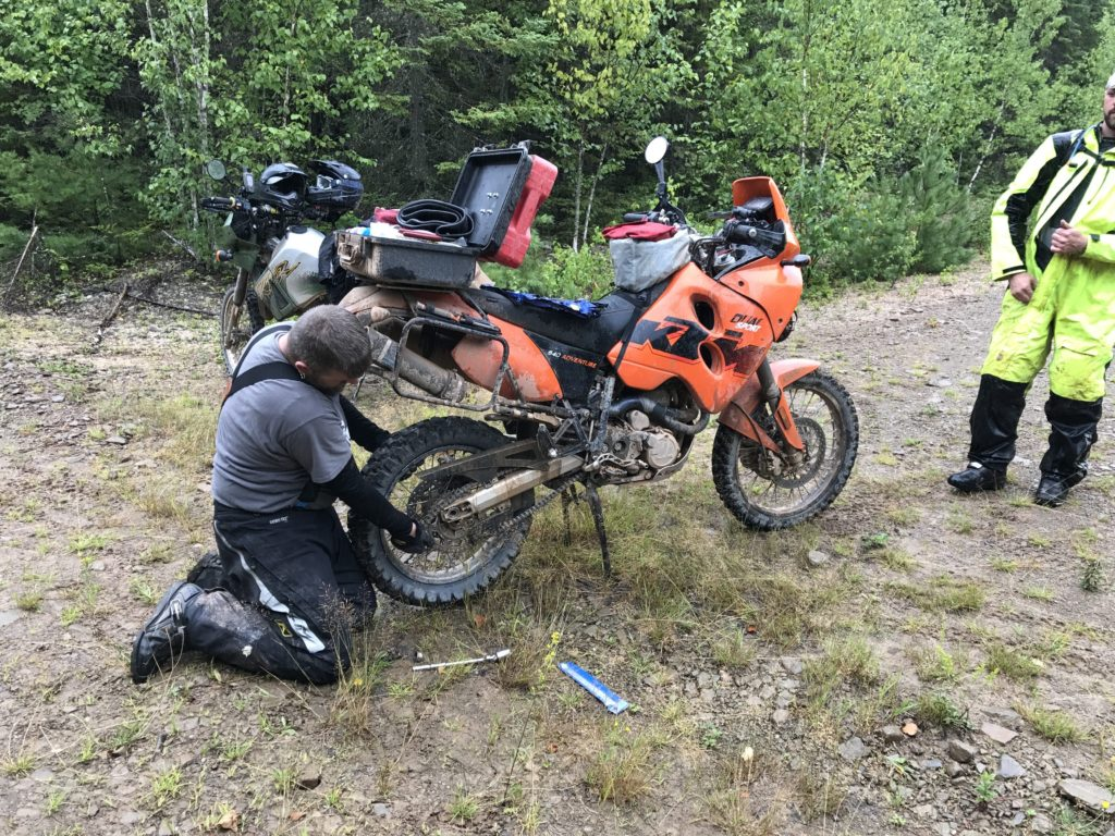 Fixing A Flat On A KTM 640 Adventure at FAR 2017