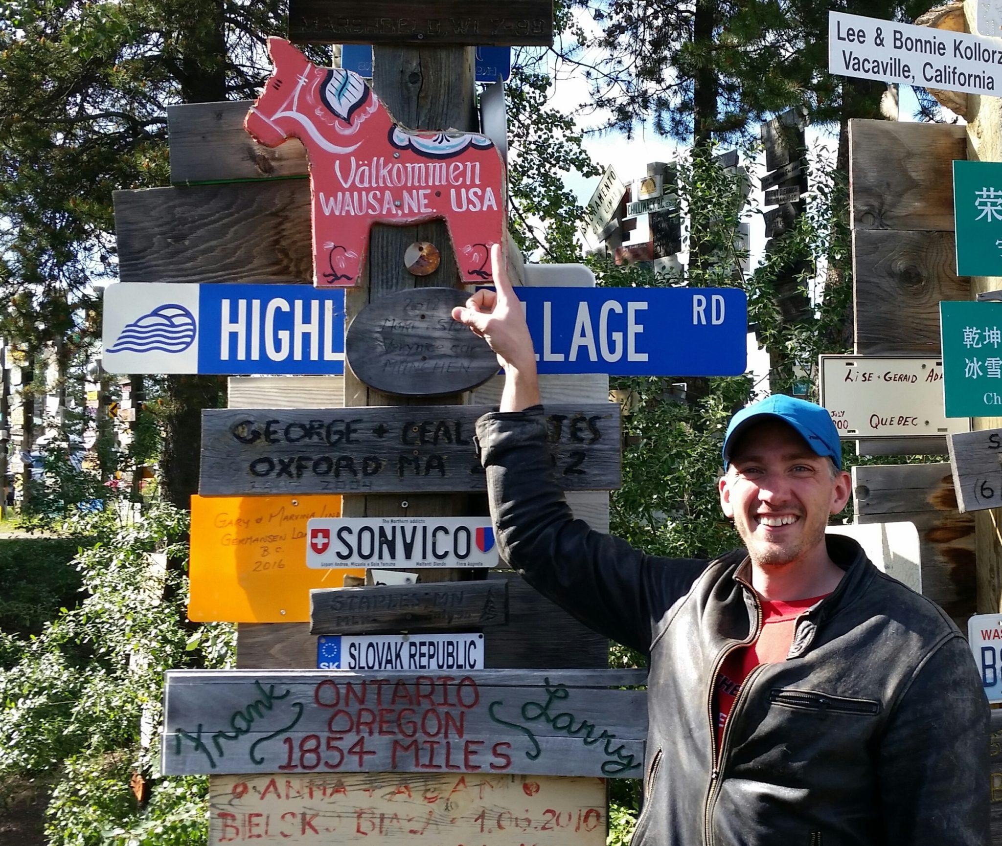 everywhereman sign post forest watson lake