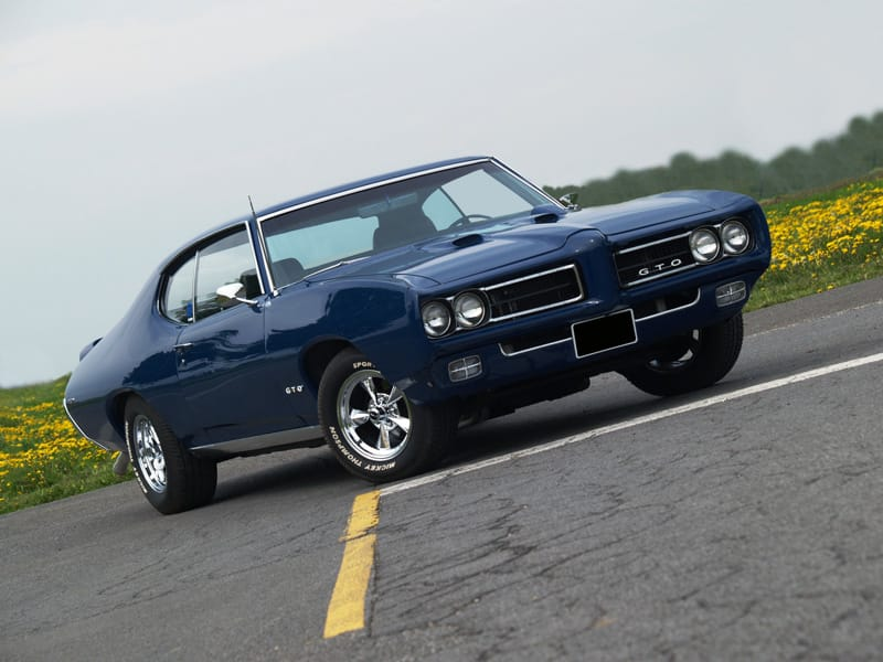 1969 Pontiac GTO painted Liberty Blue Poly in profile view
