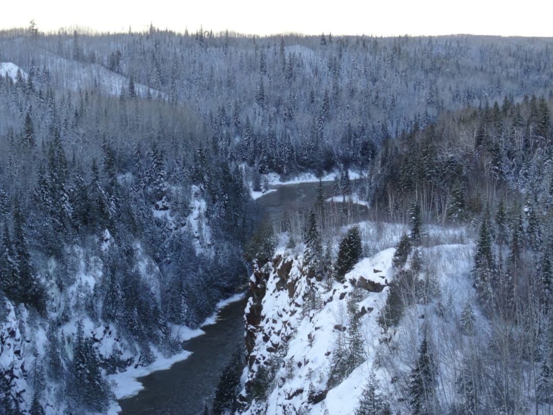 Photo of hte Abitibi River Canyon from the hydro dam