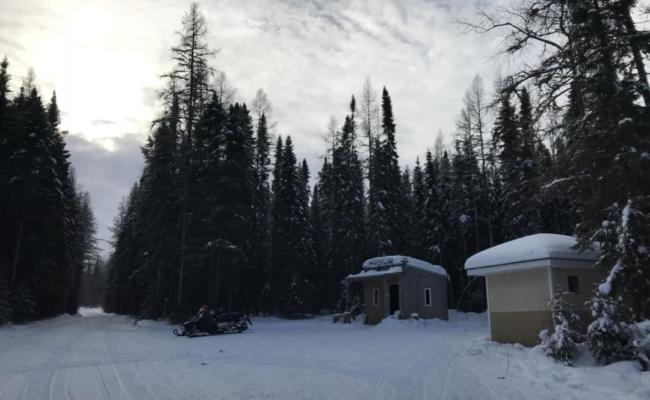 2 warm up shacks on the Abitibi Canyon Loop snowmobile trail