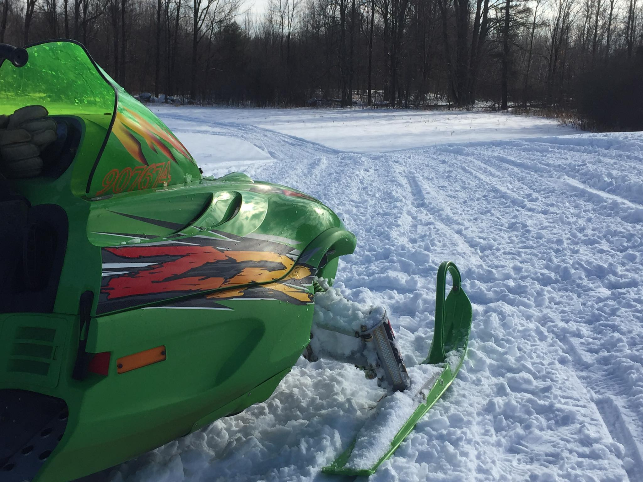An Arctic Cat ZR800 snowmobile on the trail in Innisville Ontario