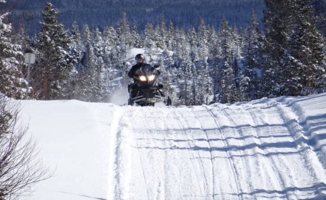 A snowmobiler cresting a hill riding towards the camera