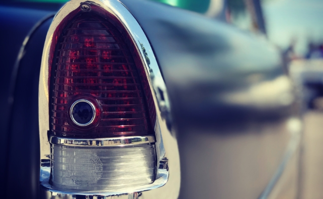 Photo of the tail light of a 55 Chevy