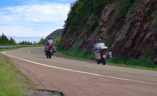 A photo of 2 motorcycle riders on the Cabot Trail