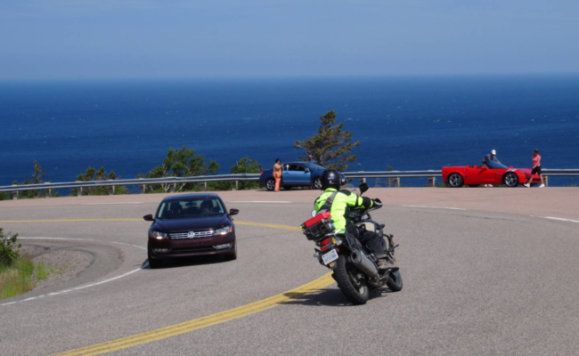 A photo of advjoe riding a motorcycle on the Cabot Trail