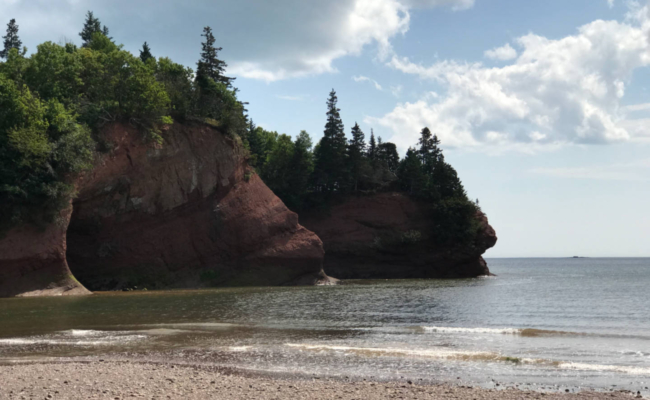 photo of the caves at St. Martins NB at low tide