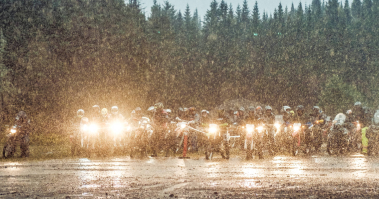 A photo of the start of the Fundy Adventure Rally in the rain