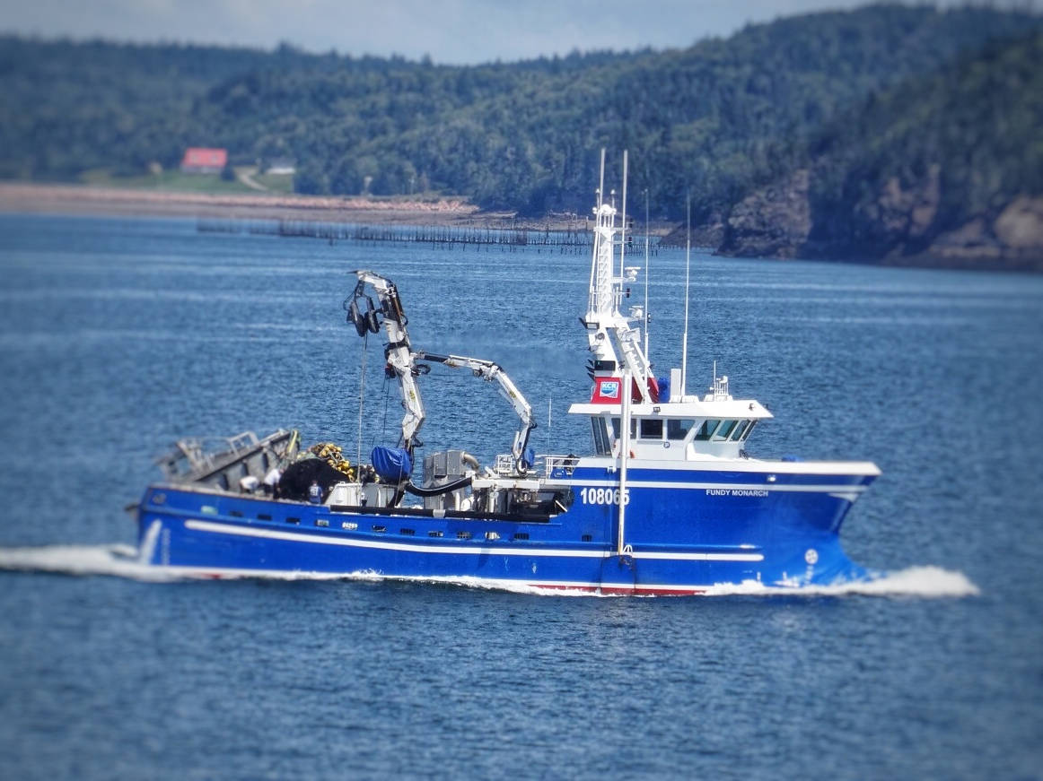 a fishing boat heading into harbour at Blacks Harbour, New Brunswick