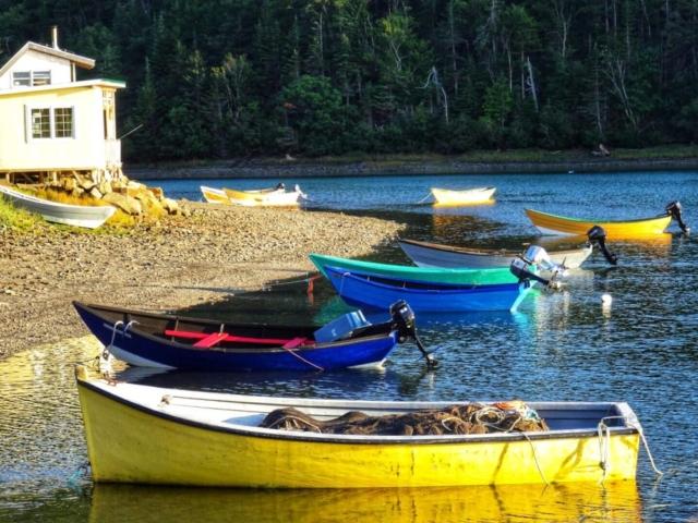 Colorful fishing boats at Dark Harbour, Grand Manan