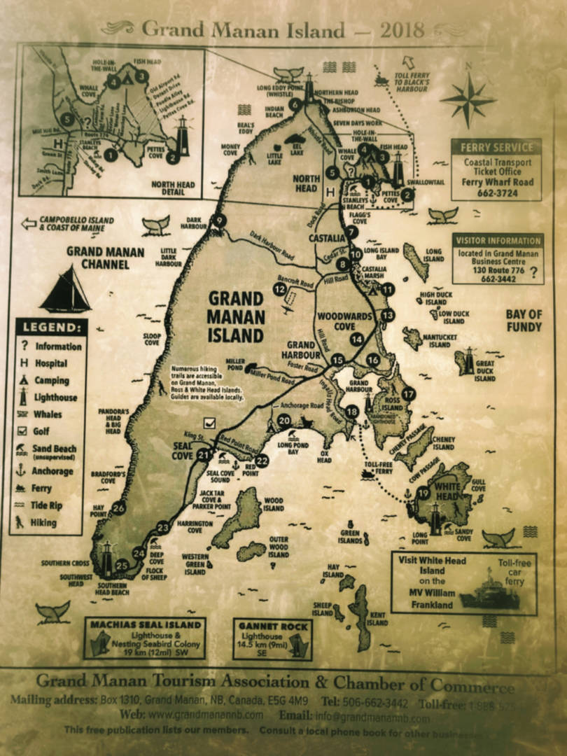 An informative map of Grand Manan Island