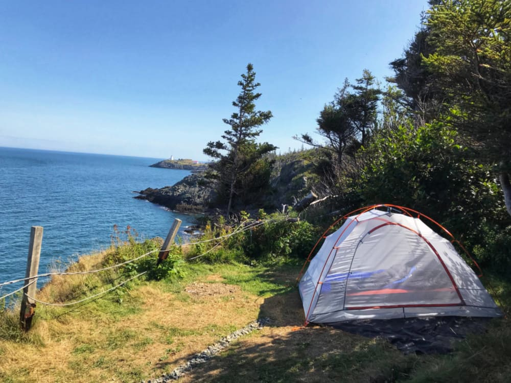 a cliff-side tent site at Hole in the Wall campground Grand Manan