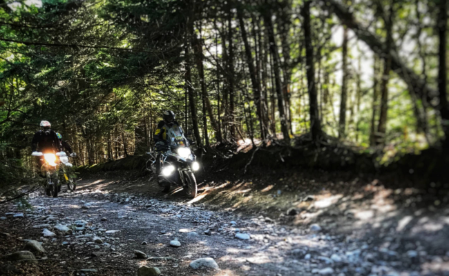 photo of 3 motorcycles on a rocky trail in New Brunswick