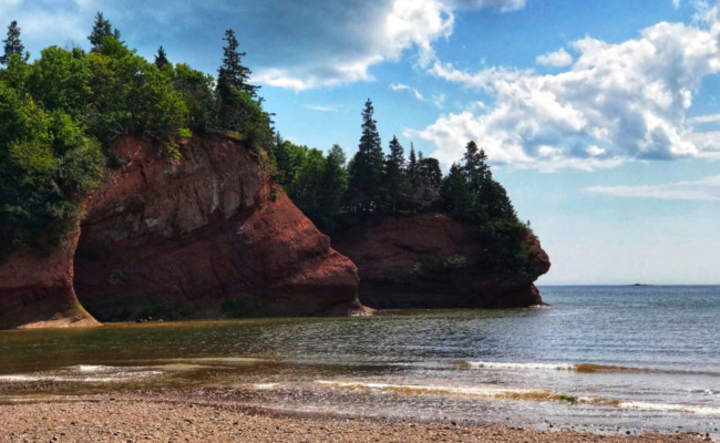 photo of the St. Matins sea caves at low tide
