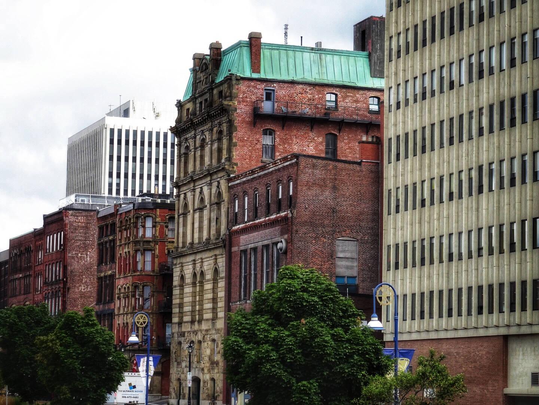 Modern office buildings crowd heritage buildings in Saint John New Brunswick