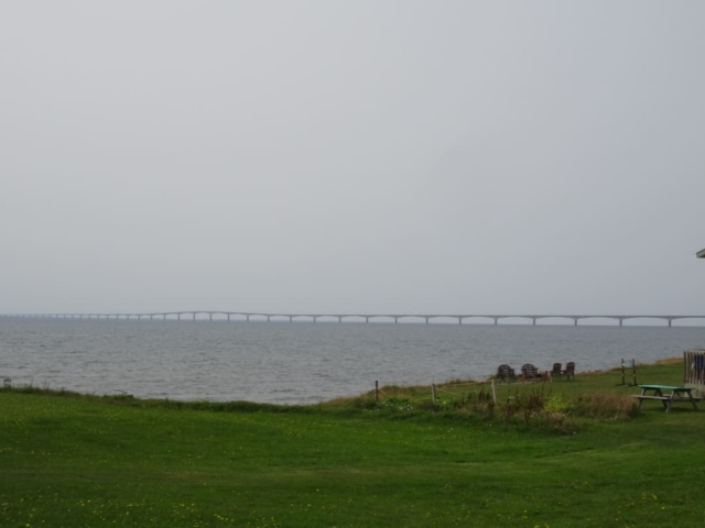 The 13 kilometre long Confederation Bridge as seen from Prince Edward Island