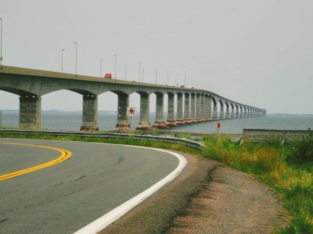The 13 kilometer long Confederation Bridge as seen from New Brunswick