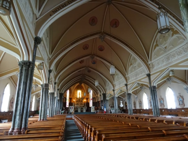 The interior of the cathedral at Mt Carmel PEI