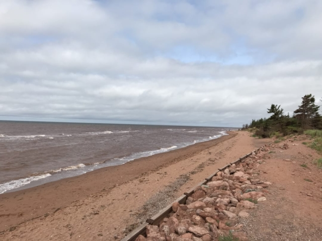 The red sand beach at West Point PEI