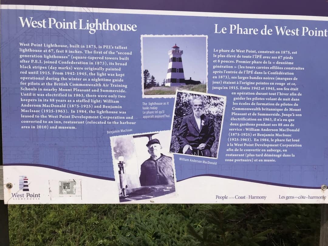 A placard explaining the story of the West Point Lighthouse on PEI