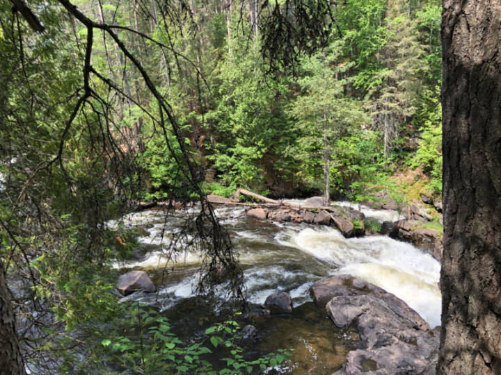 A photo of the water rushing through the Eau Claire Gorge
