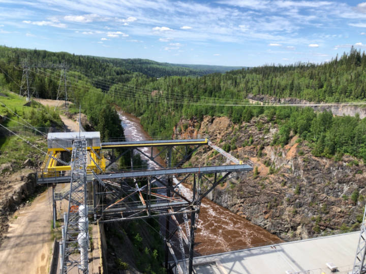 a photo of the hydro station at Abitibi Dam