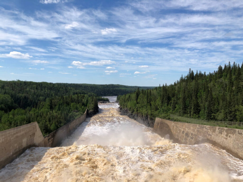 a photo of the sluiceway at Abitibi Canyon Hydro Generating Station
