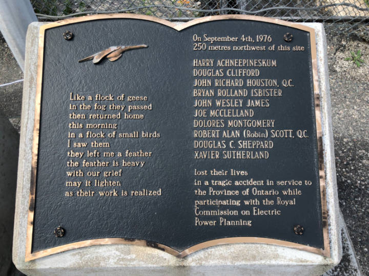 A plaque commemorating a tragic plane crash at Abitibi Canyon