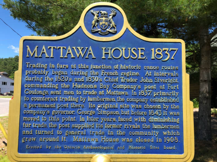a photo of a historical plaque describing Mattawa Ontario